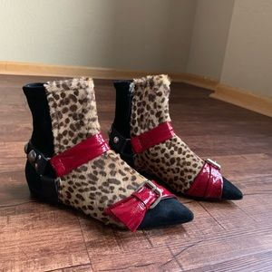Isabel Marant 8M leopard print suede ankle boot